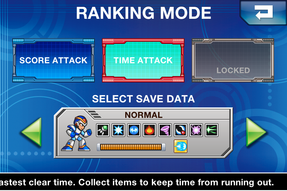 Sceenshot showing the game mode selection screen from Mega Man X on iPhone, when Time Attack released, when Survival Mode was not announced yet.