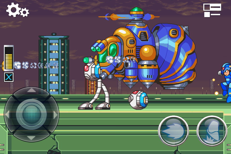 Hint 1 of 2 for completing the intro stage challenges of MegaMan X on iPhone
