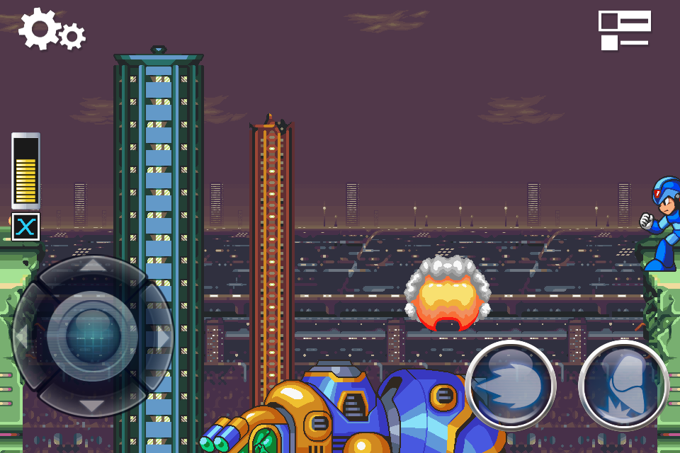 Hint 2 of 2 for completing the intro stage challenges of MegaMan X on iPhone
