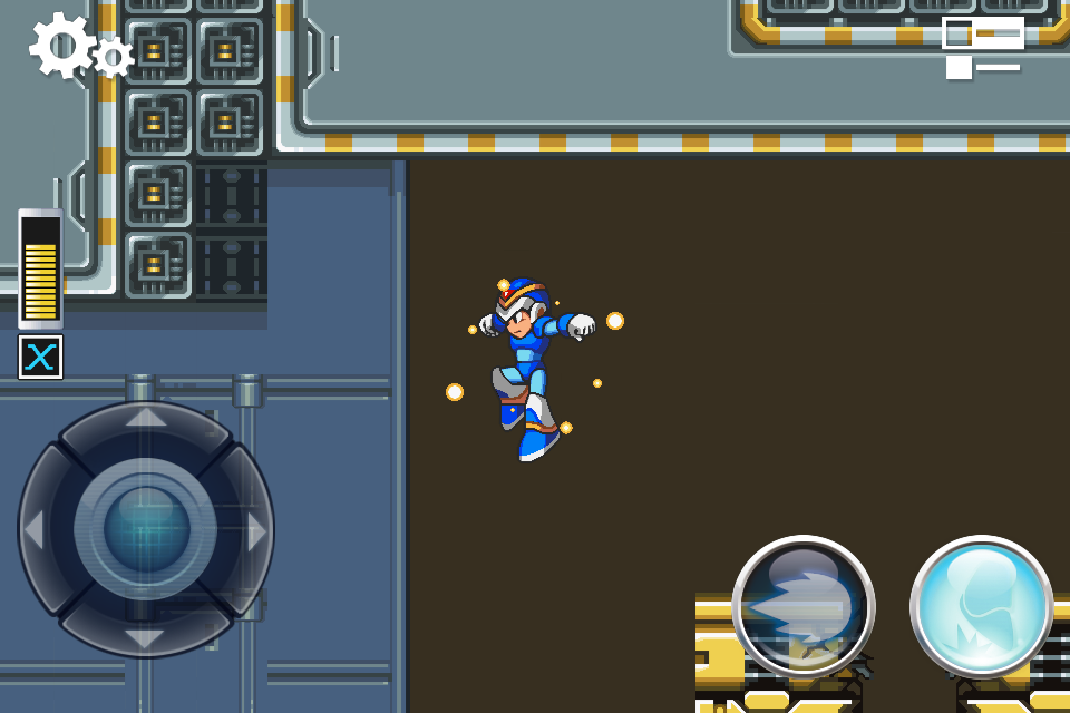Screenshot from MegaMan X for iPhone, showing the location of the weapon upgrade inside the Flame Mammoth Stage